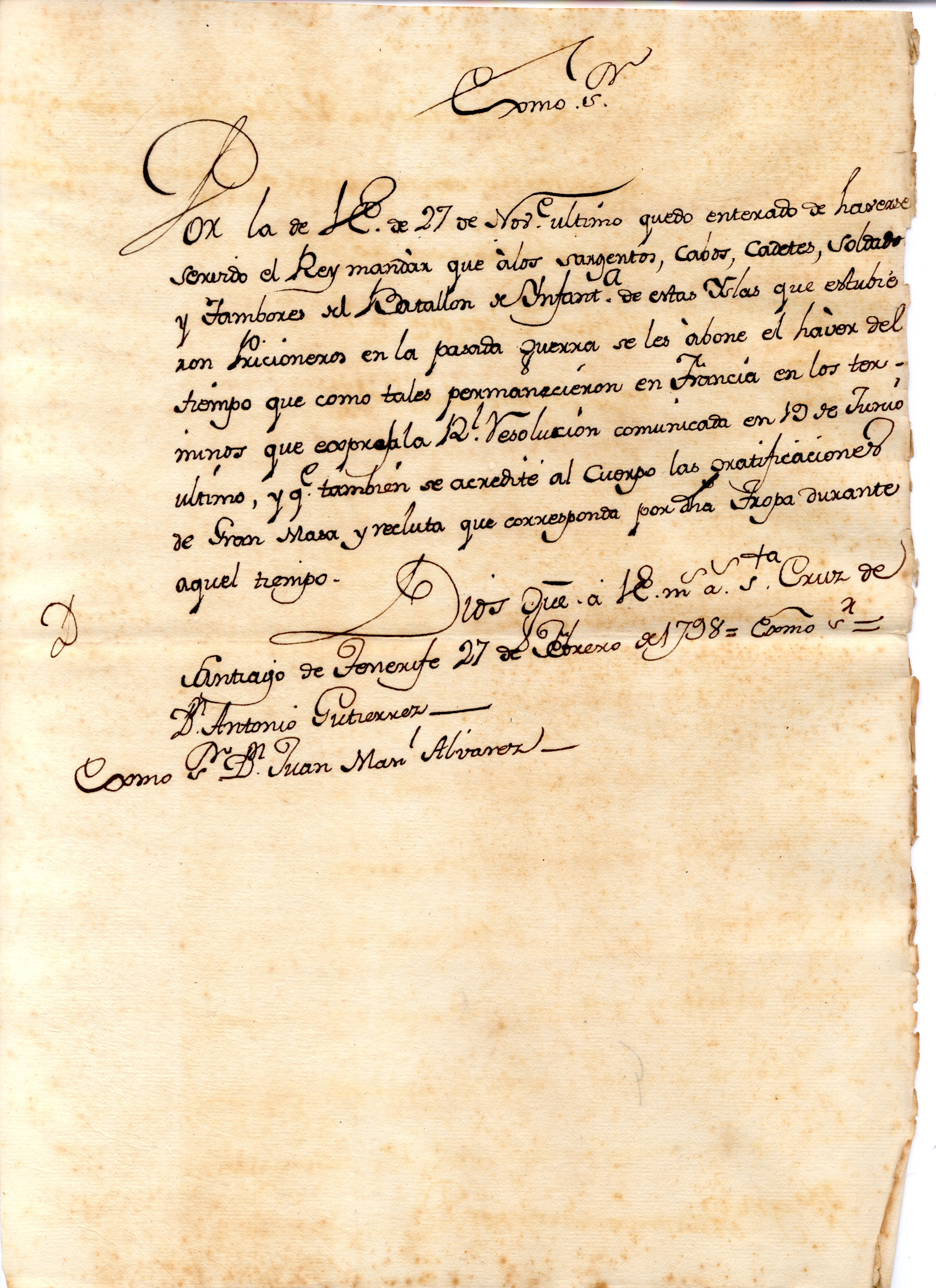 <br/>Manuscrito del General Gutiérrez. 1798